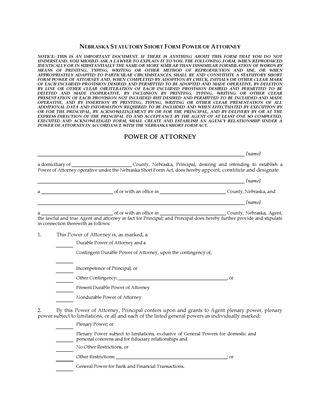 Picture of Nebraska Statutory Short Form Power of Attorney