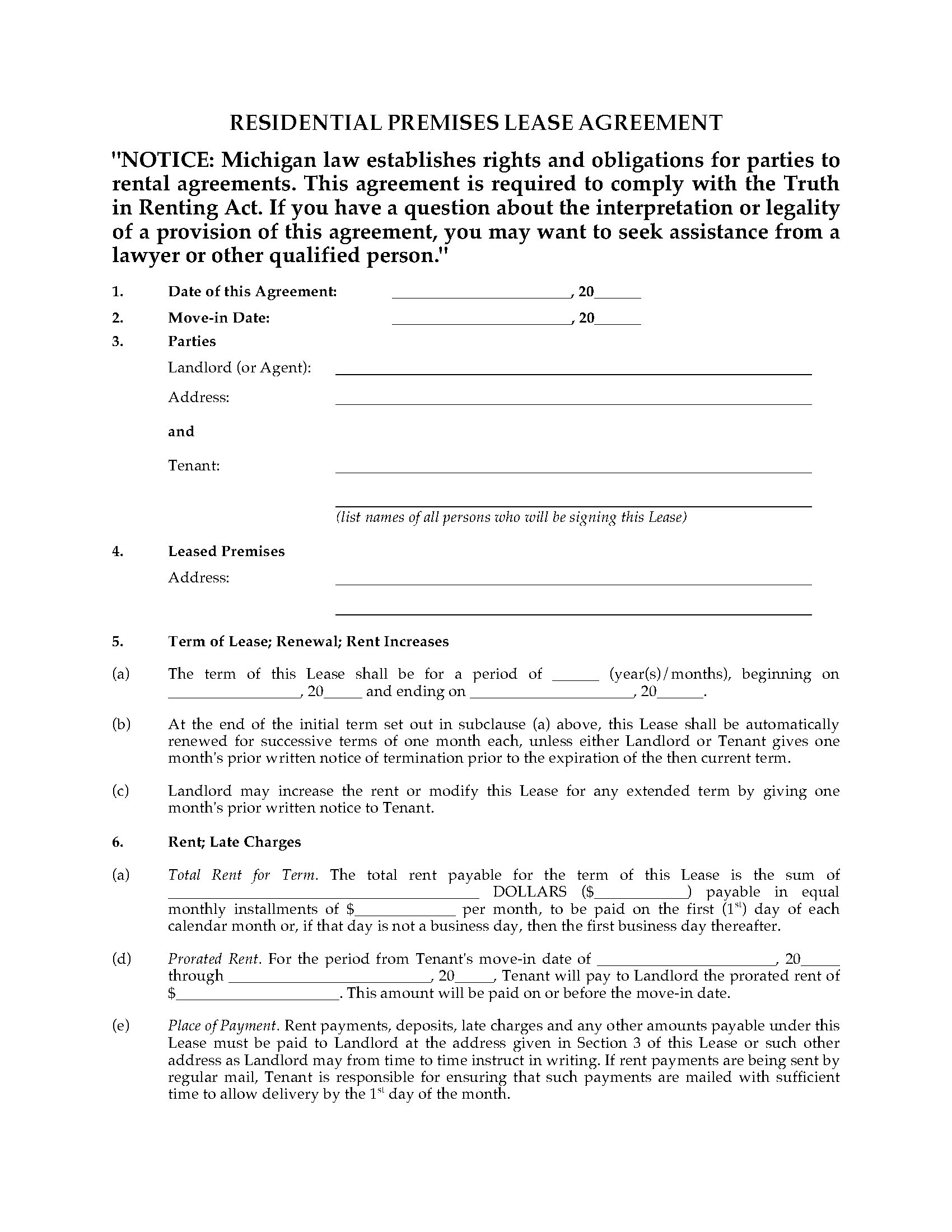 Michigan Fixed Term Lease Agreement Legal Forms And Business