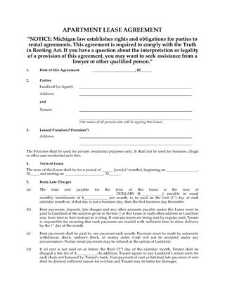 Picture of Michigan Apartment Lease Agreement