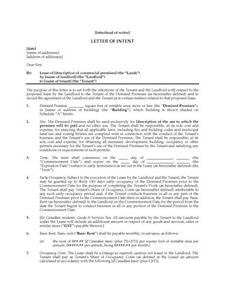 Picture of Letter of Intent to Lease Commercial Space