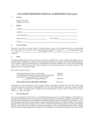 Picture of Ontario Vacation Property Rental Agreement