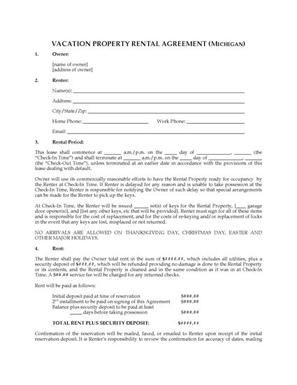 Picture of Michigan Vacation Property Rental Agreement