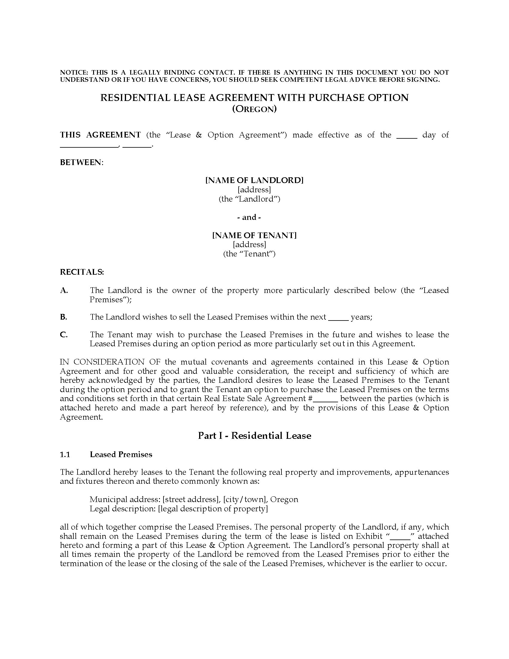 Oregon Residential Lease Agreement With Option To Purchase