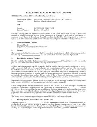 Picture of Arizona Residential Rental Agreement