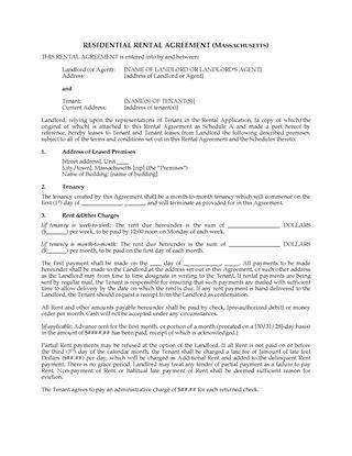 Picture of Massachusetts Rental Agreement for Residential Premises