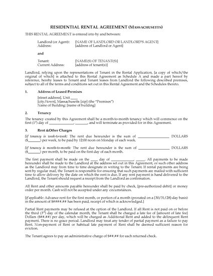 Picture of Massachusetts Rental Agreement for Residential Premises