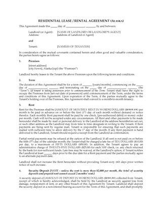Picture of Alaska Fixed Term Residential Lease Agreement
