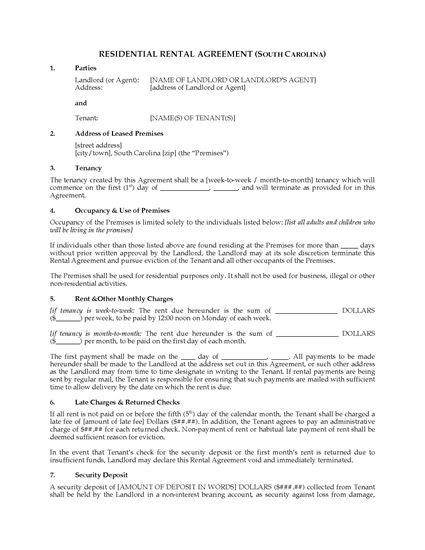 Picture of South Carolina Rental Agreement for Residential Premises