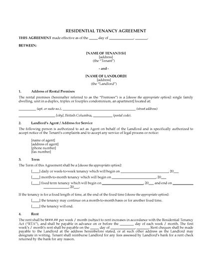 British Columbia Residential Lease Tenancy Agreement