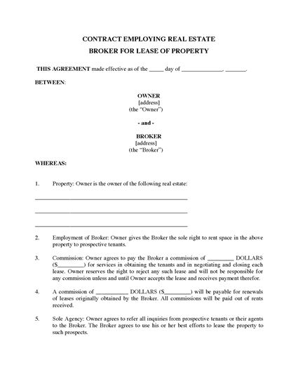 Picture of USA Brokerage Contract for Property Leasing
