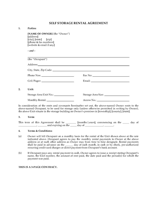 Picture of Self Storage Unit Rental Agreement | USA