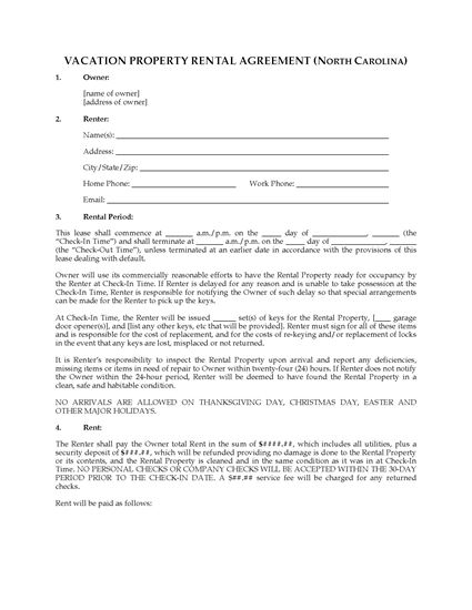 Picture of North Carolina Vacation Property Rental Agreement
