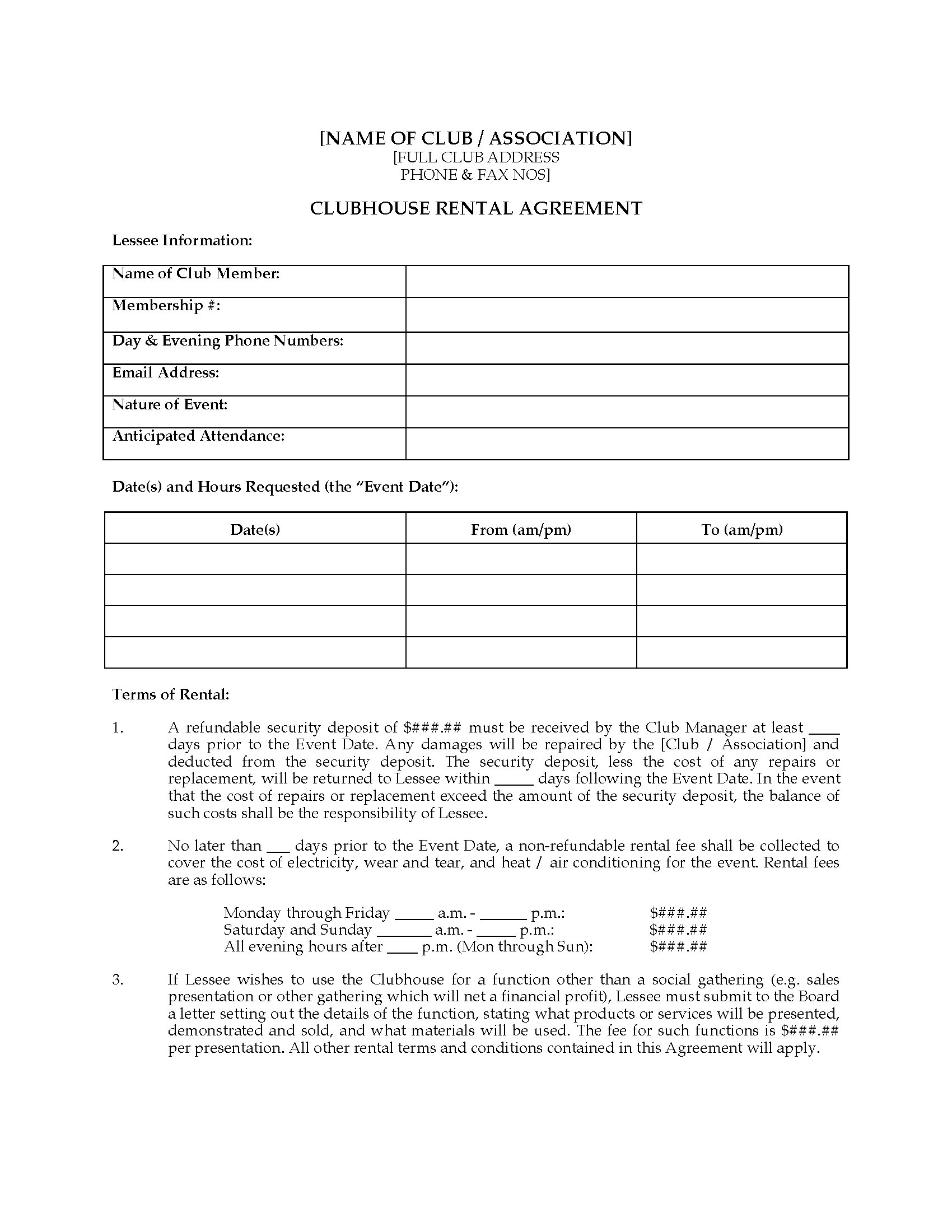 Canada Club House Rental Agreement Legal Forms And Business