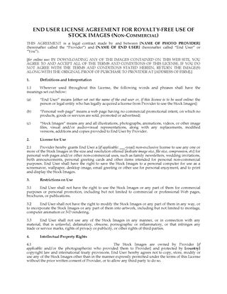 Picture of Stock Photo License for Non-Commercial Use