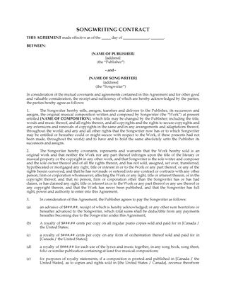 Music Business Contracts | Legal Forms And Business Templates