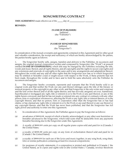 Picture of Songwriting Contract with Reversion Rights