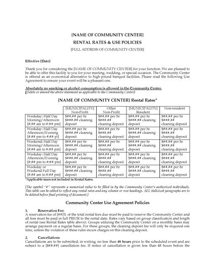 Picture of USA Community Center Rental Rates and Use Policies