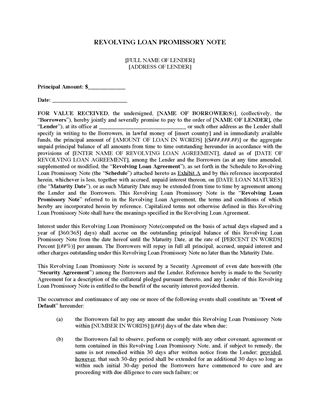 Picture of USA Revolving Loan Promissory Note