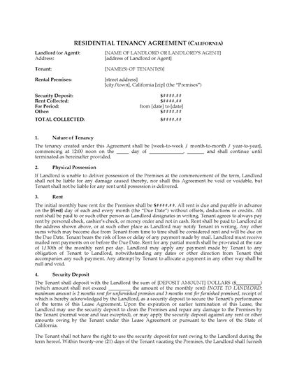 Picture of California Residential Tenancy Agreement