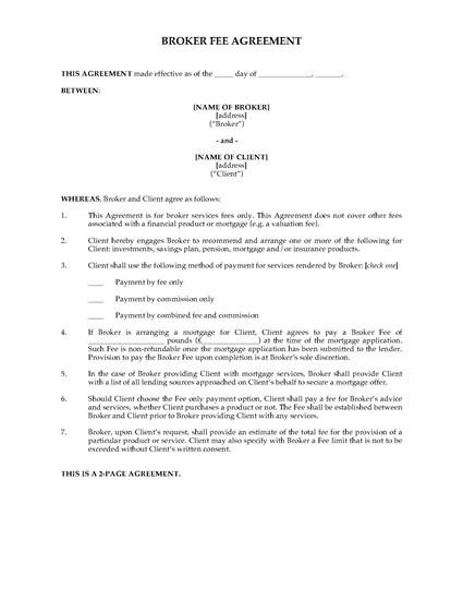 Picture of Broker Fee Agreement for Financial Services | UK