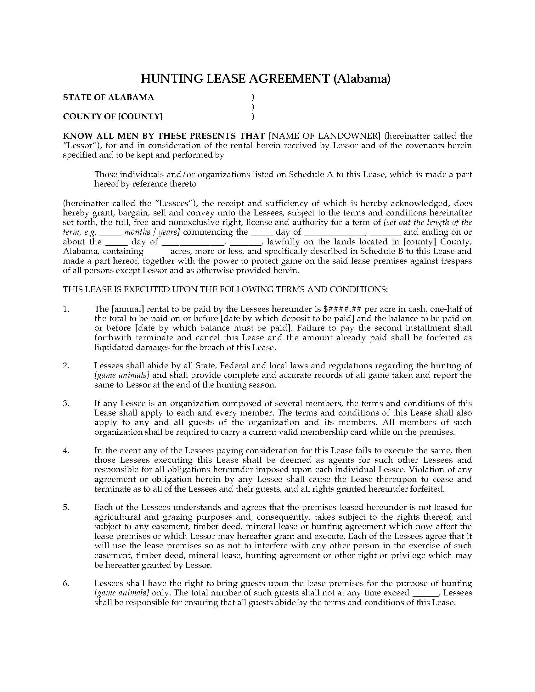 Alabama Hunting Lease Agreement