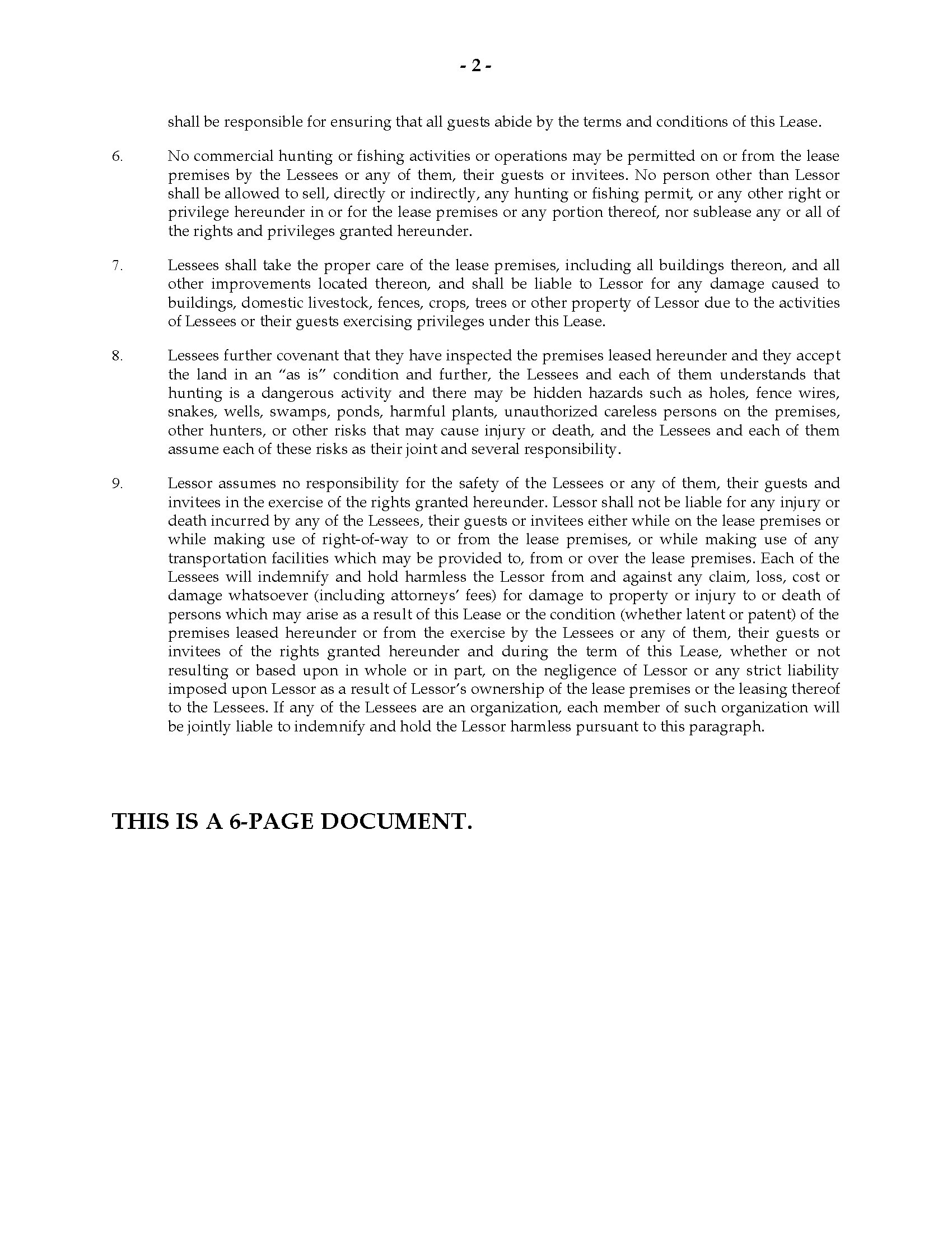 Georgia Hunting Lease Agreement