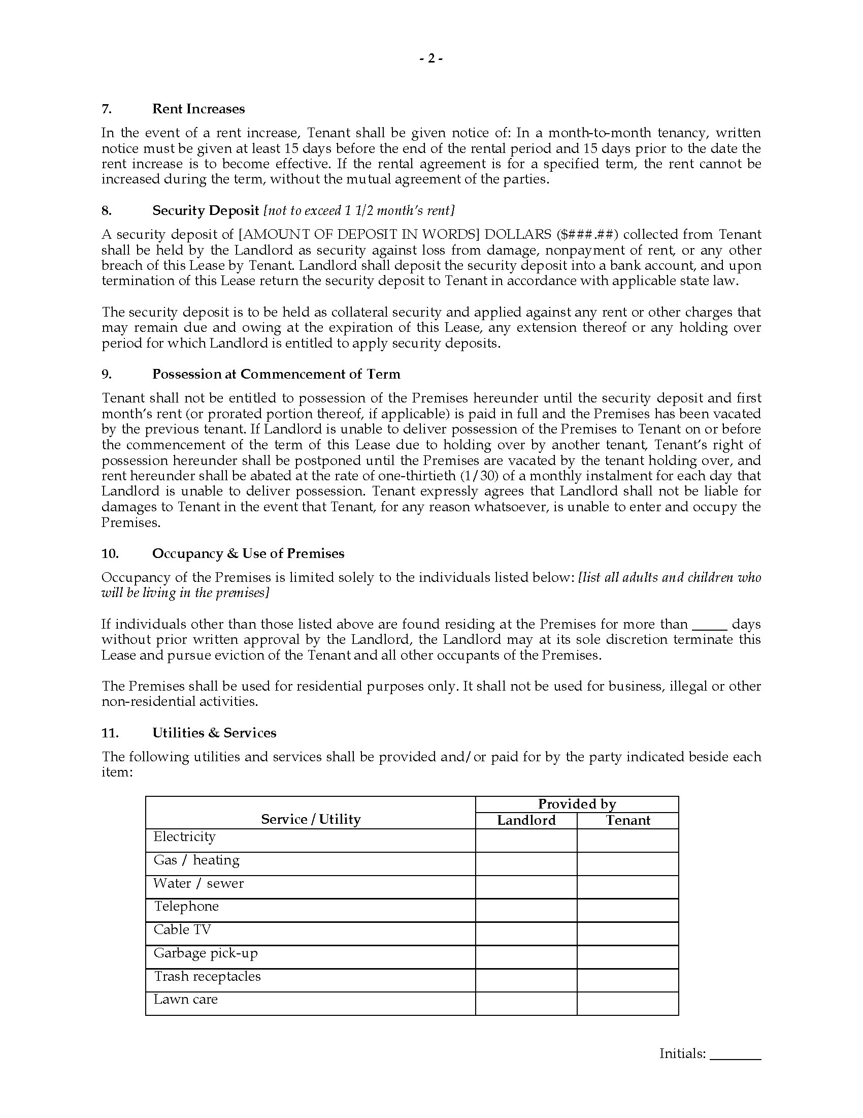 Idaho Fixed Term Residential Lease Agreement