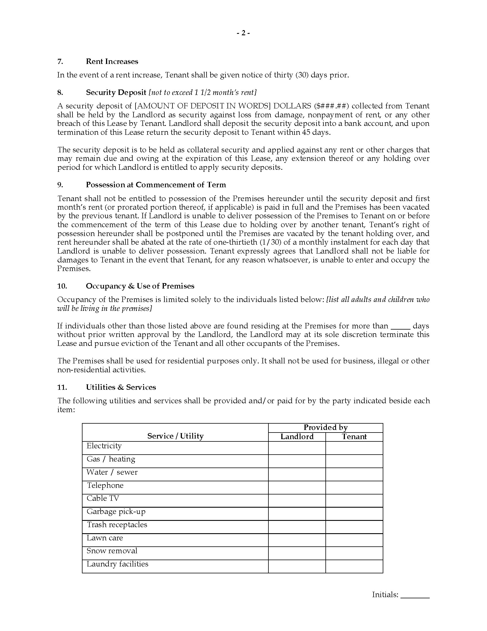 Indiana Fixed Term Residential Lease Agreement