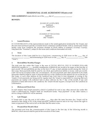 Picture of Maryland Fixed Term Residential Lease Agreement