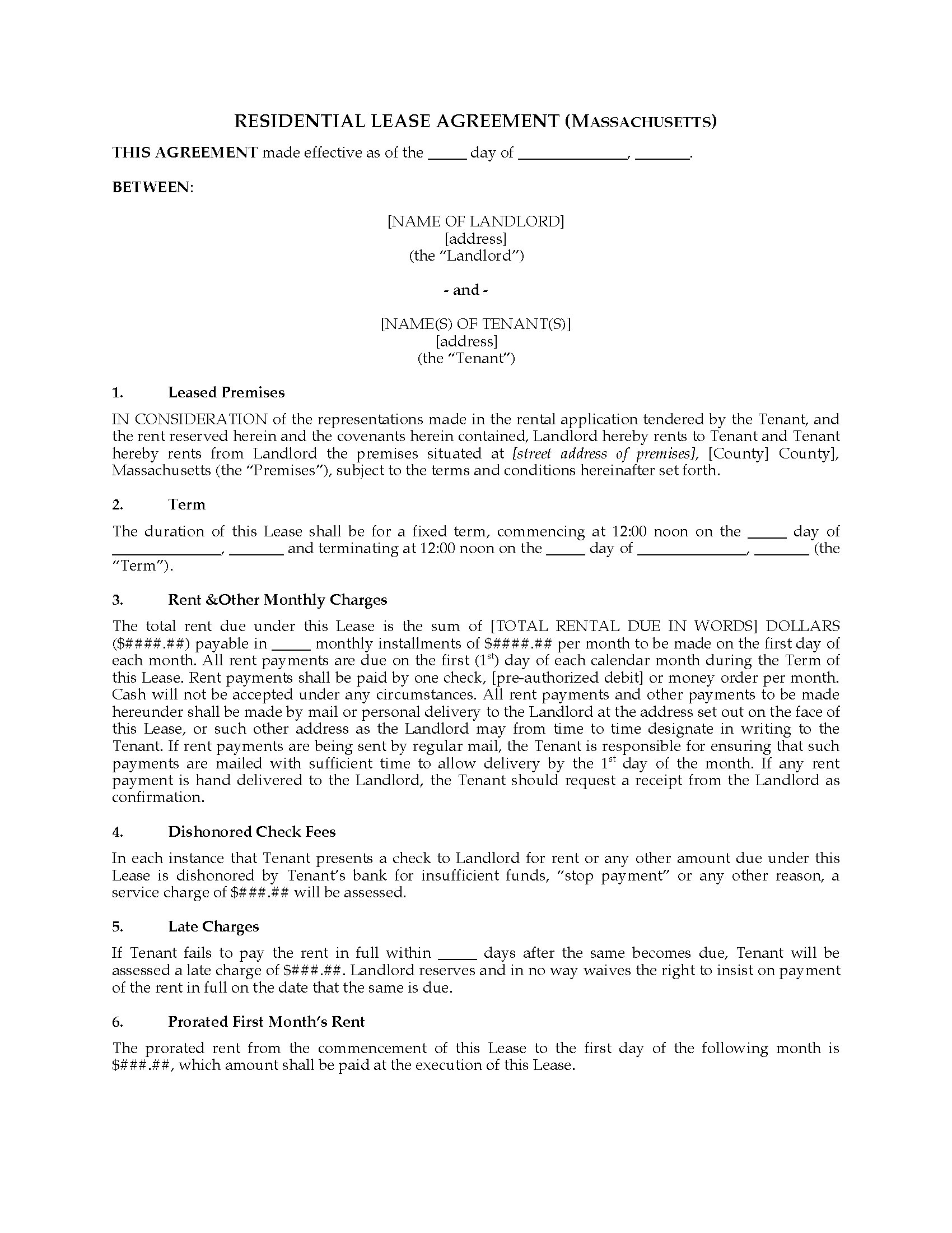 Massachusetts Fixed Term Residential Lease Agreement Legal Forms