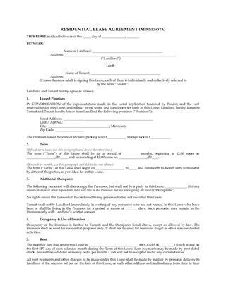 Picture of Minnesota Residential Lease Agreement