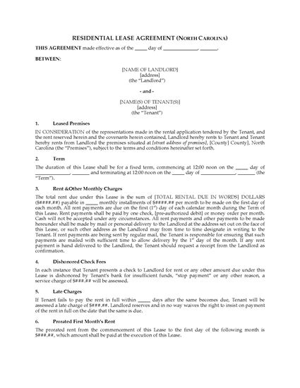 Picture of North Carolina Fixed Term Residential Lease Agreement