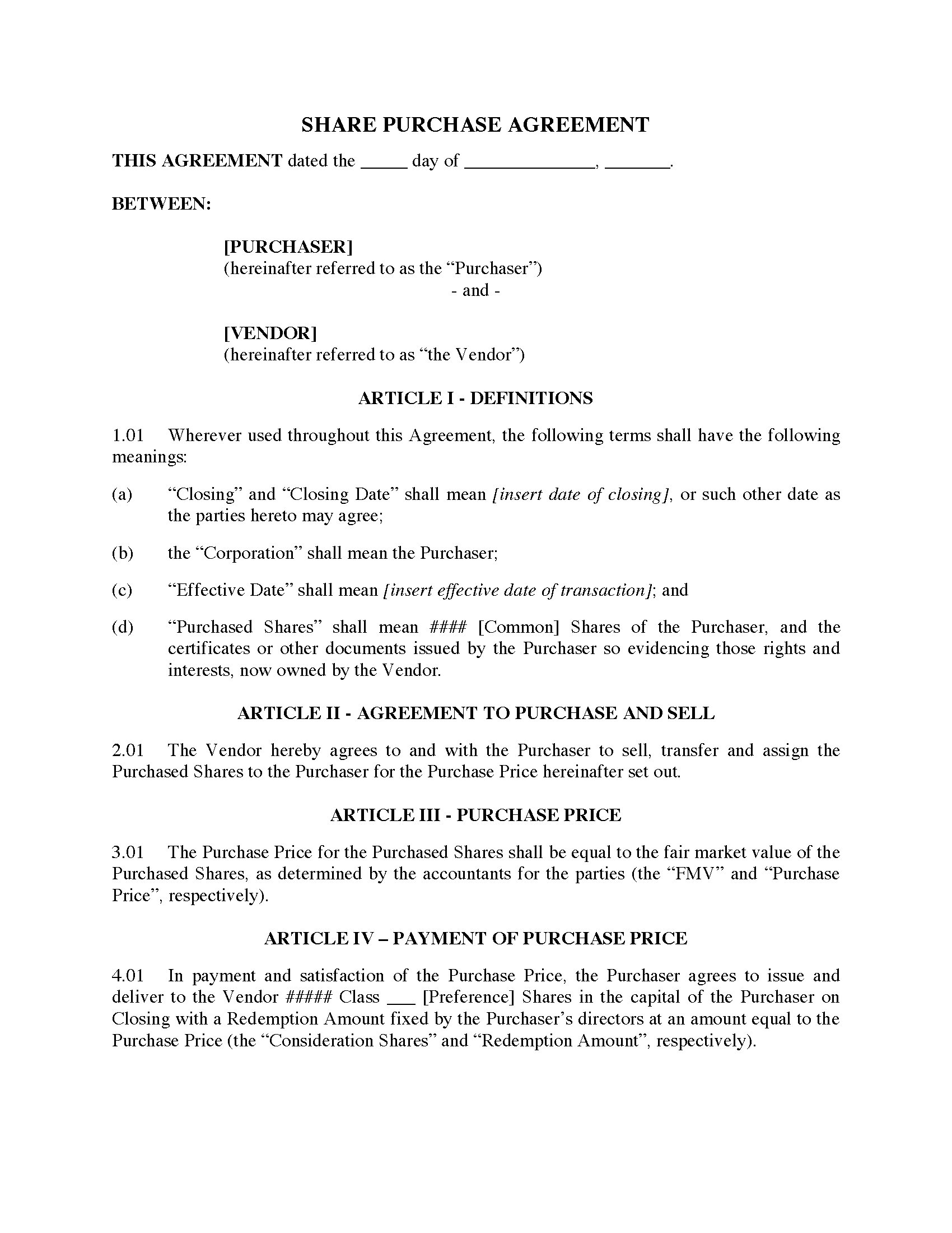 Ontario Section 86 Rollover Agreement