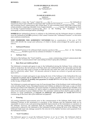 Picture of Ontario Sublease Agreement for Commercial Premises