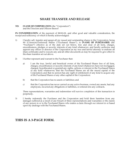 Picture of Ontario Share Transfer and Release Forms