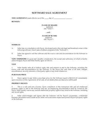 Picture of Sale Agreement for Software