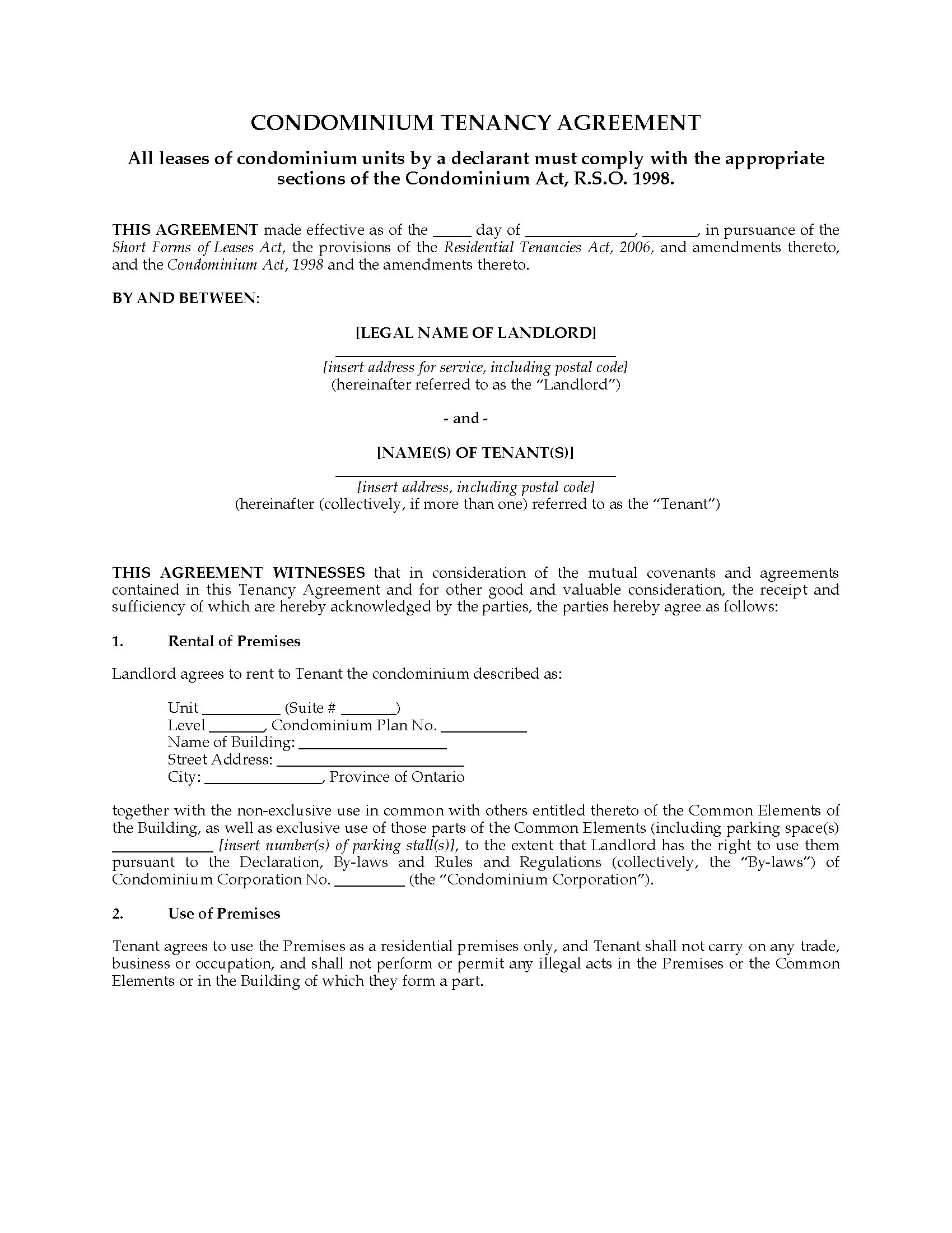 Ontario Condominium Tenancy Agreement | Legal Forms and Business ...