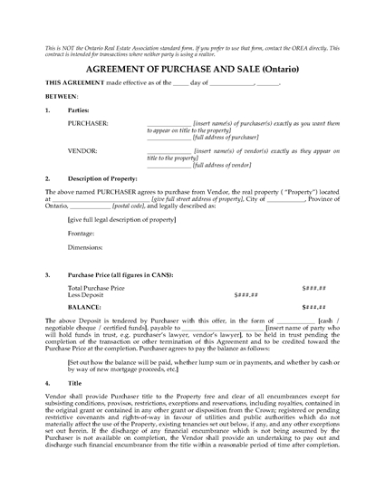 Picture of Ontario FSBO Real Estate Purchase and Sale Contract