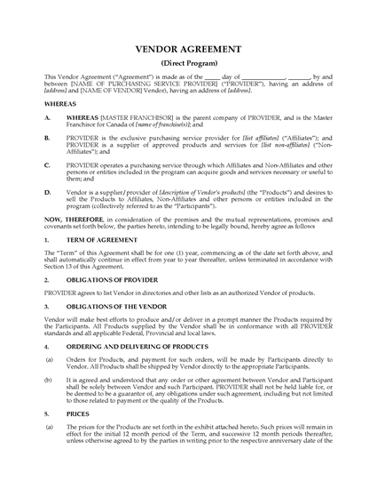 Picture of Direct Purchasing Program Vendor Agreement   Canada