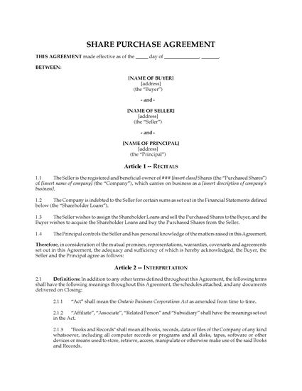 Picture of Ontario Share Purchase Agreement & Assignment of Shareholder Loans