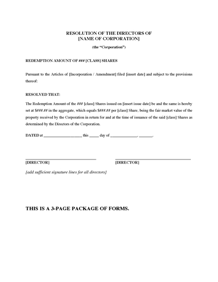 Picture of Ontario Directors Resolutions to Redeem Shares