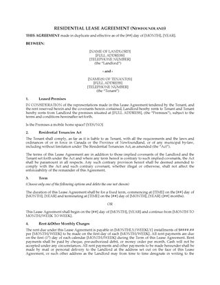 Picture of Newfoundland Residential Tenancy Agreement