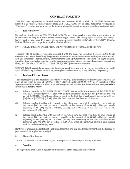 Picture of Alabama Contract for Deed