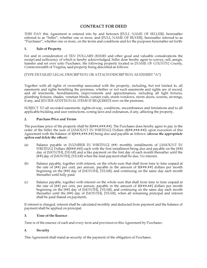 Picture of Virginia Contract for Deed