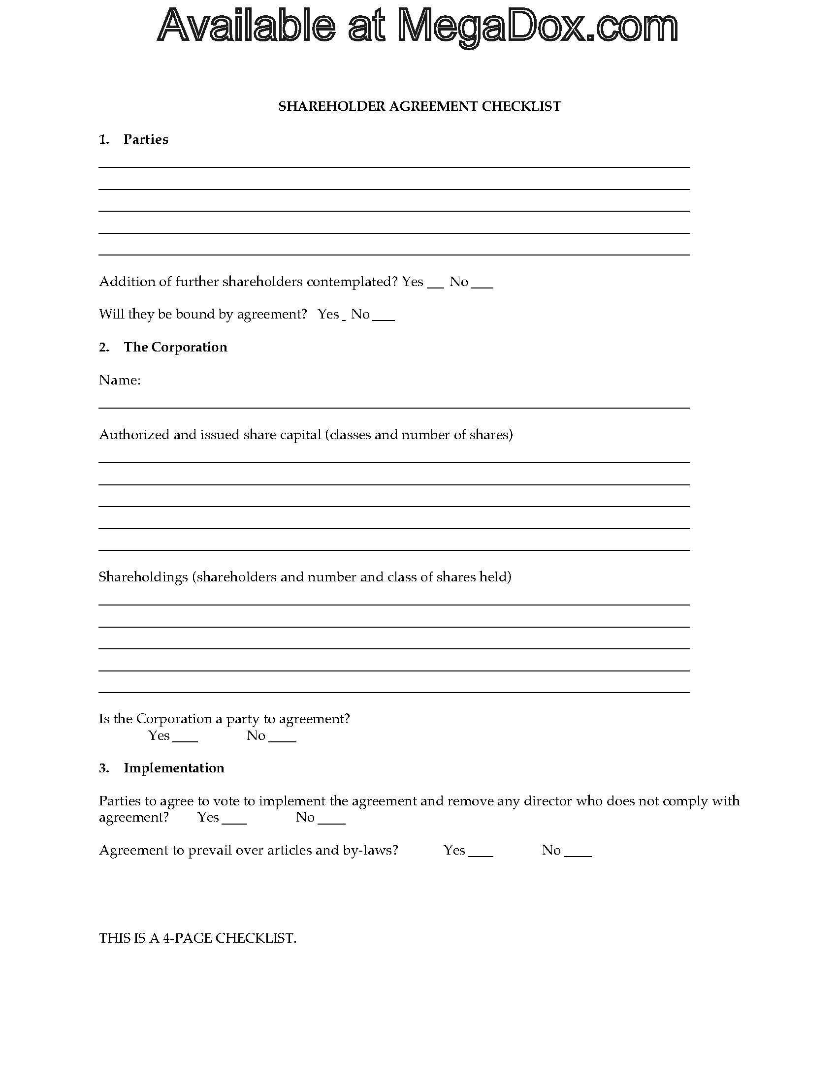 Shareholder Agreement Checklist Legal Forms And Business Templates