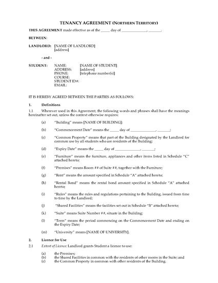 Picture of Northern Territory Dormitory Housing Tenancy Agreement