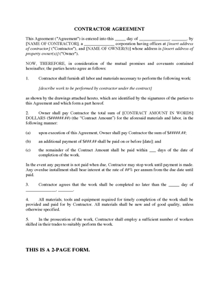 Picture of Construction Contractor Agreement | Canada