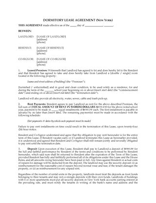 Picture of New York Dormitory Lease Agreement