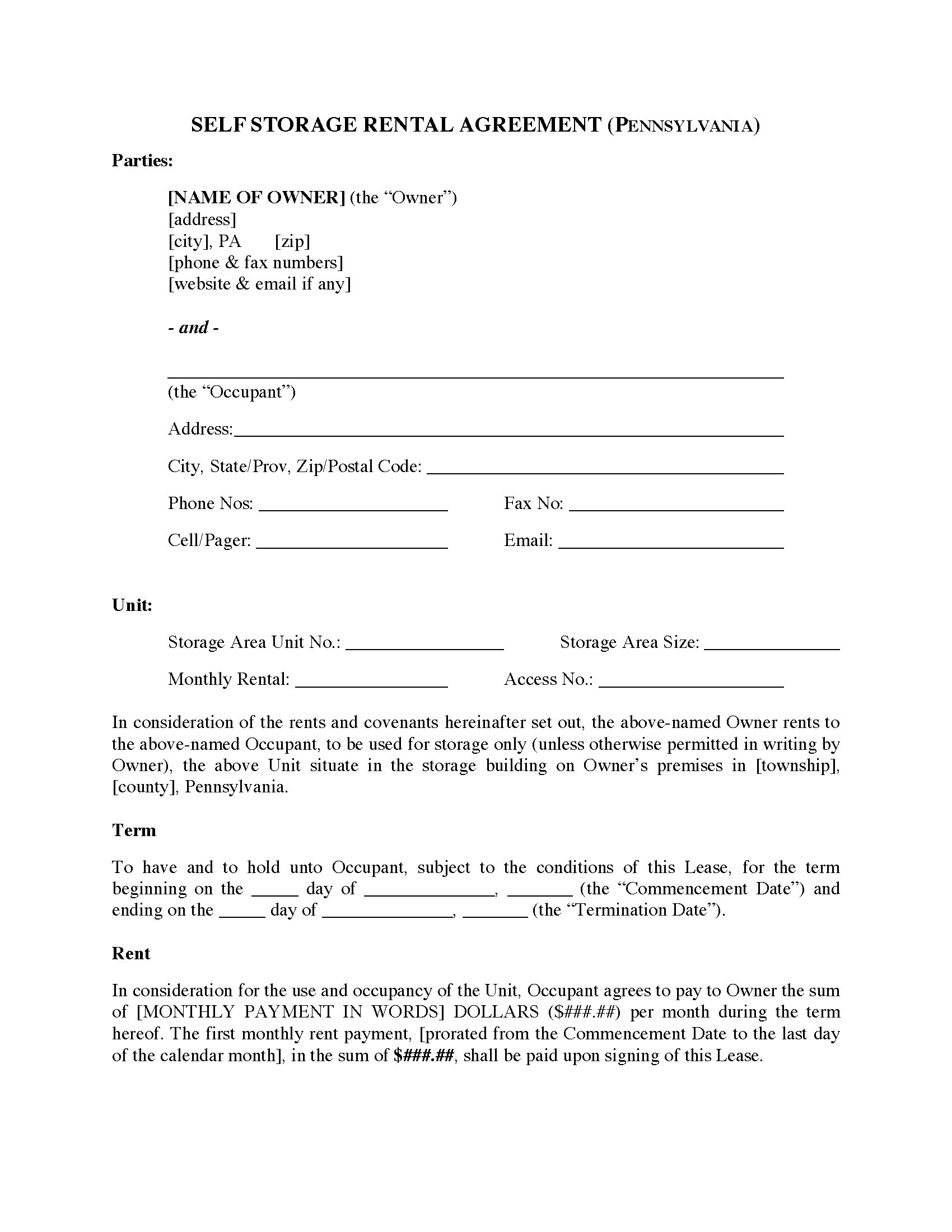 Pennsylvania Self Storage Lease Agreement Legal Forms And Business
