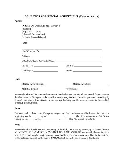 Picture of Pennsylvania Self Storage Lease Agreement